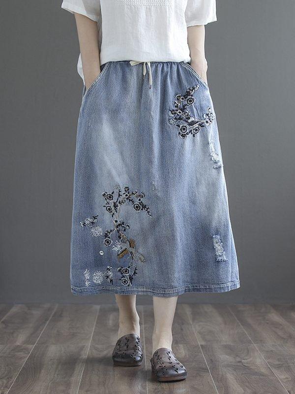 Джинсовая юбка с вышивкой и карманами : 2 цвета