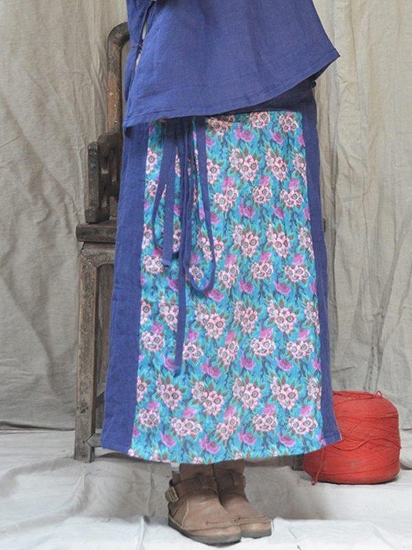 Юбка с поясом и винтажным узором спереди : 4 цвета