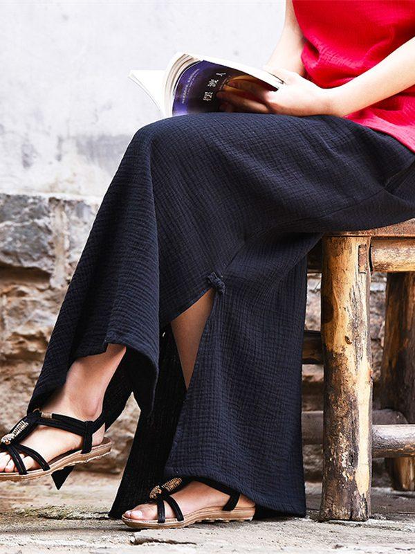 Хлопковая юбка с разрезами по бокам : 3 цвета