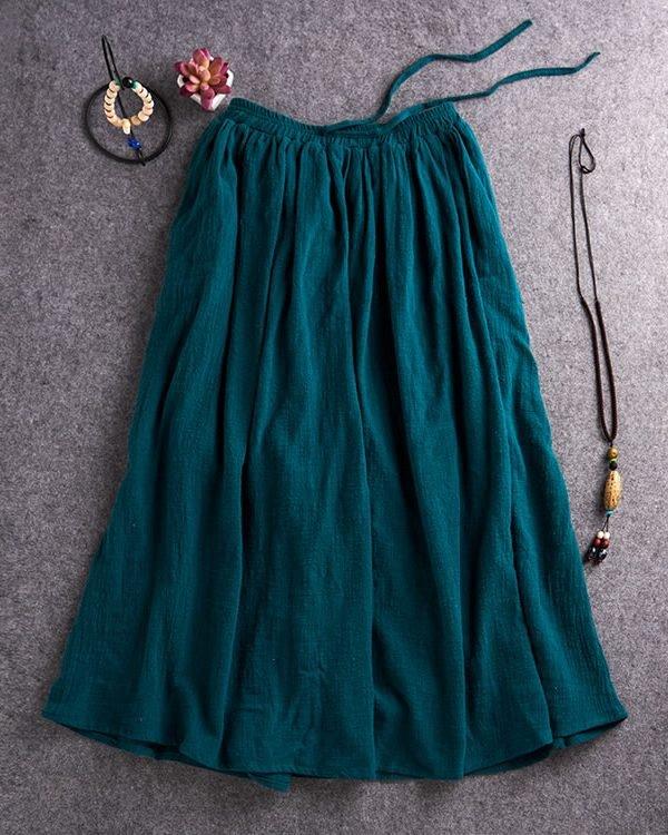 Легкая и свободная юбка с поясом : 3 цвета