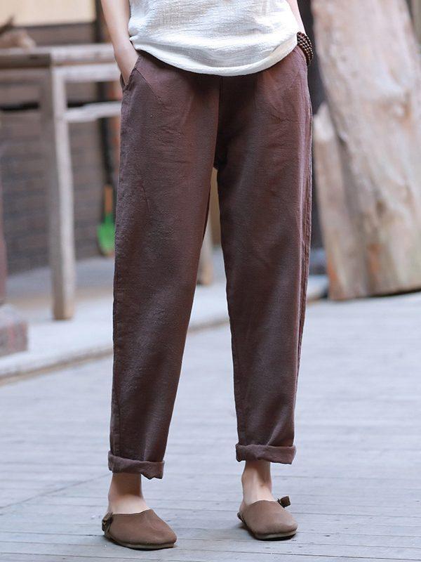 Повседневные брюки выше щиколоток : 4 цвета