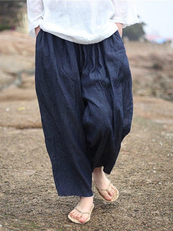 Свободные штаны из джинсовой ткани, с карманами