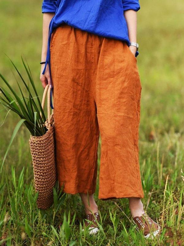 Хлопковые штаны с широкими штанинами : 2 цвета