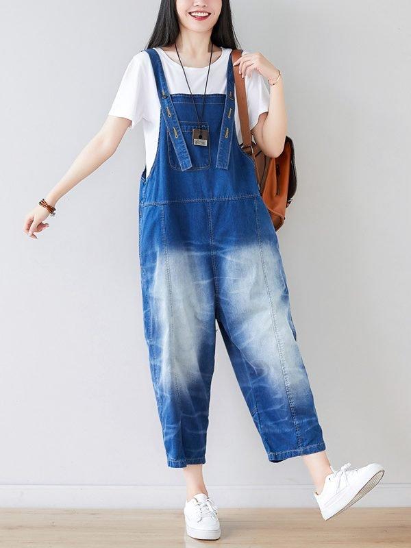 Винтажный джинсовый комбинезон в ретро стиле : 2 цвета