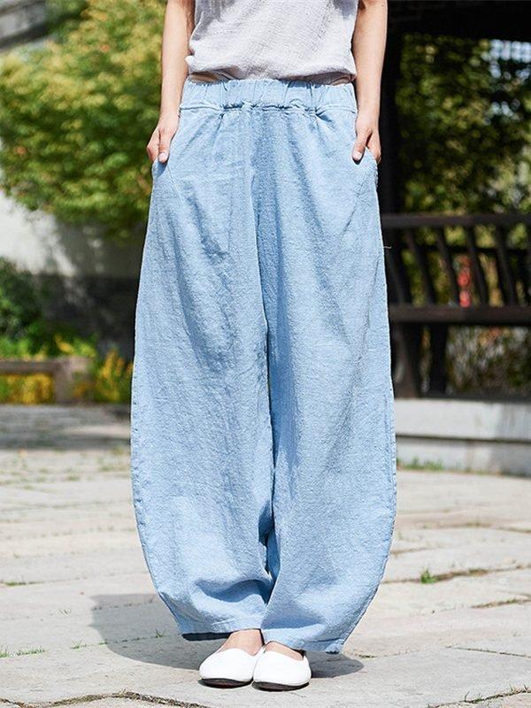 Стильные и свободные штаны из хлопка и льна : 5 цветов
