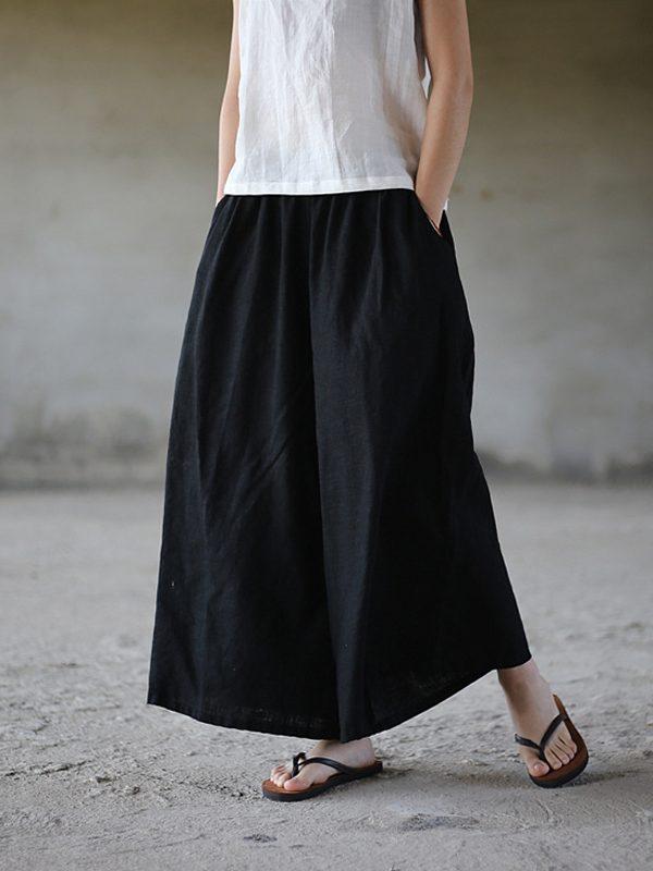 Легкие, широкие штаны из хлопка, с карманами : 3 цвета