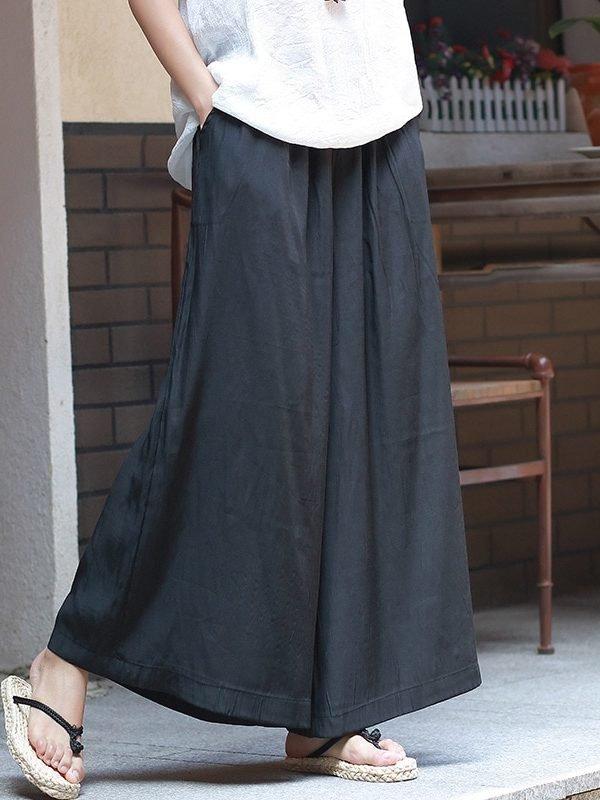 Широкие, свободные штаны с эластичной талией : 3 цвета