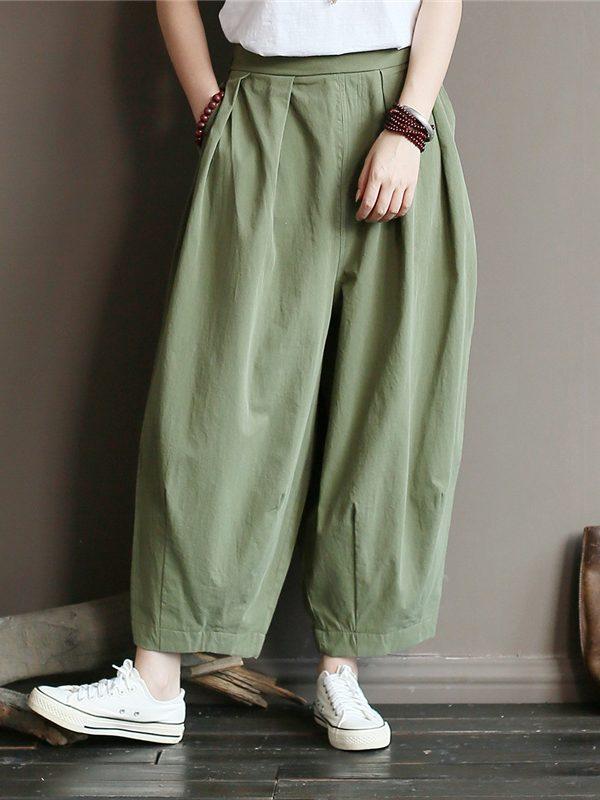 Шырокие, прямые штаны с эластичной талией : 3 цвета