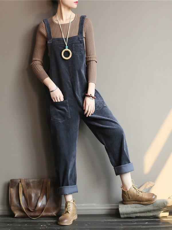 Теплый джинсовый комбинезон с карманами : 3 цвета