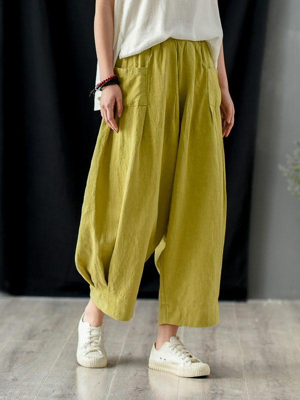 Свободные, укороченные штаны с карманами на перед : 3 цвета