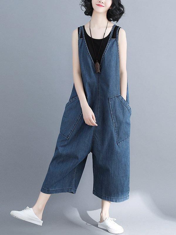 Комбинезон с широкими штанинами и карманами