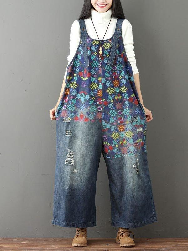 Свободный, джинсовый комбинезон с абстрактным, многоцветным принтом : 2 варианта