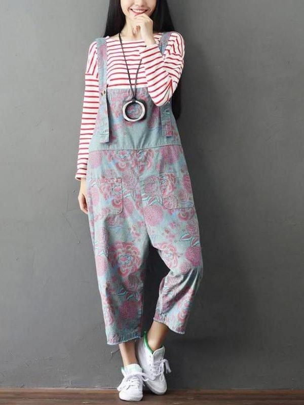 Комбинезон с цветочным принтоми укороченными штанинами : 2 цвета