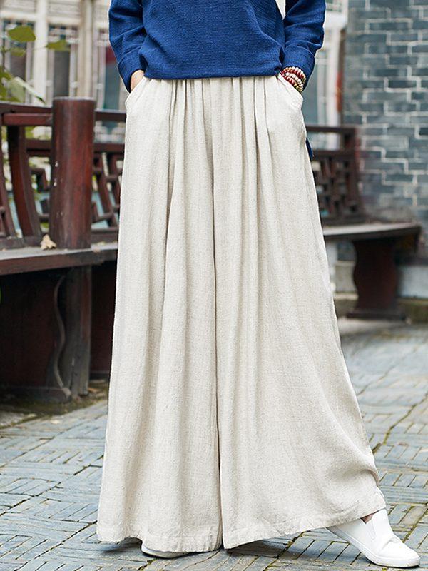 Свободные брюки с эластичной талией и широкими штанинами : 3 цвета