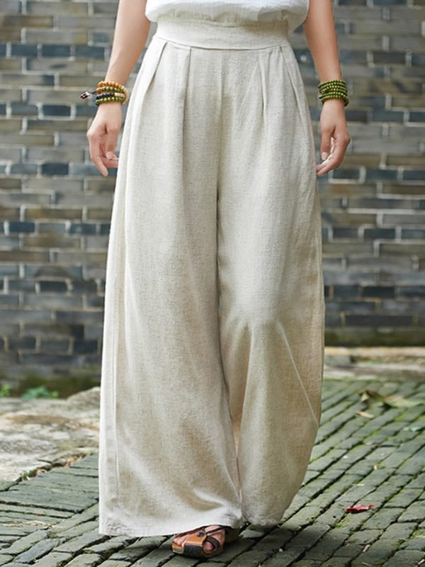 Широкие, хлопковые штаны с карманами : 3 цвета