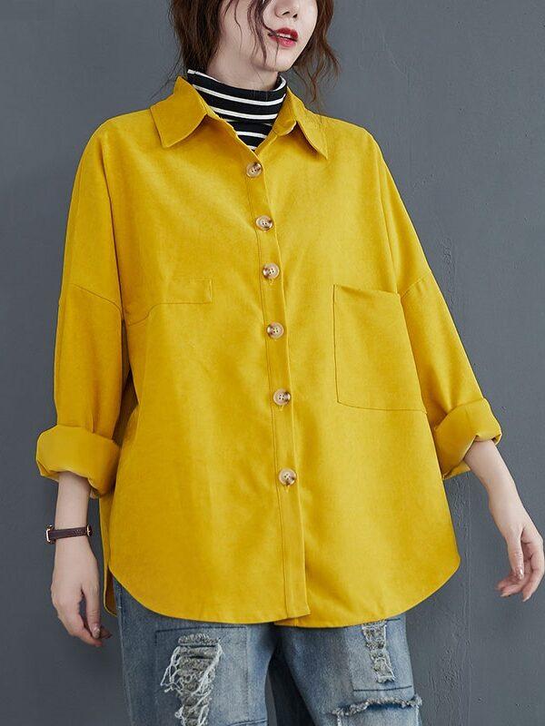 Теплая рубашка с большими пуговицами : 3 цвета